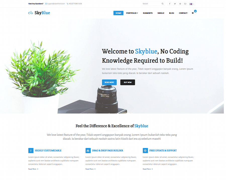 Skyblue Corporate Bootstrap Template Script Eden