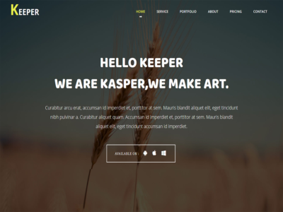 Keeper – One Page Bootstrap Template