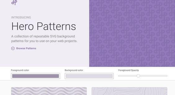 Hero Patterns - Top 7 SVG Pattern Generator Websites for Web Design Projects for 2018