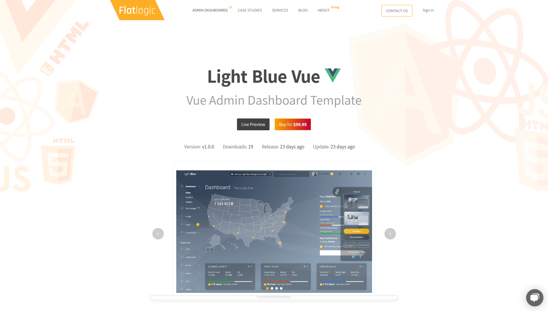 Light Blue Vue Admin - Vue js Dashboard Template built with Bootstrap, Vuex and Vue Router Flatlogic