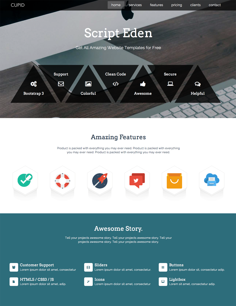 Cupid - Single Page Bootstrap Template