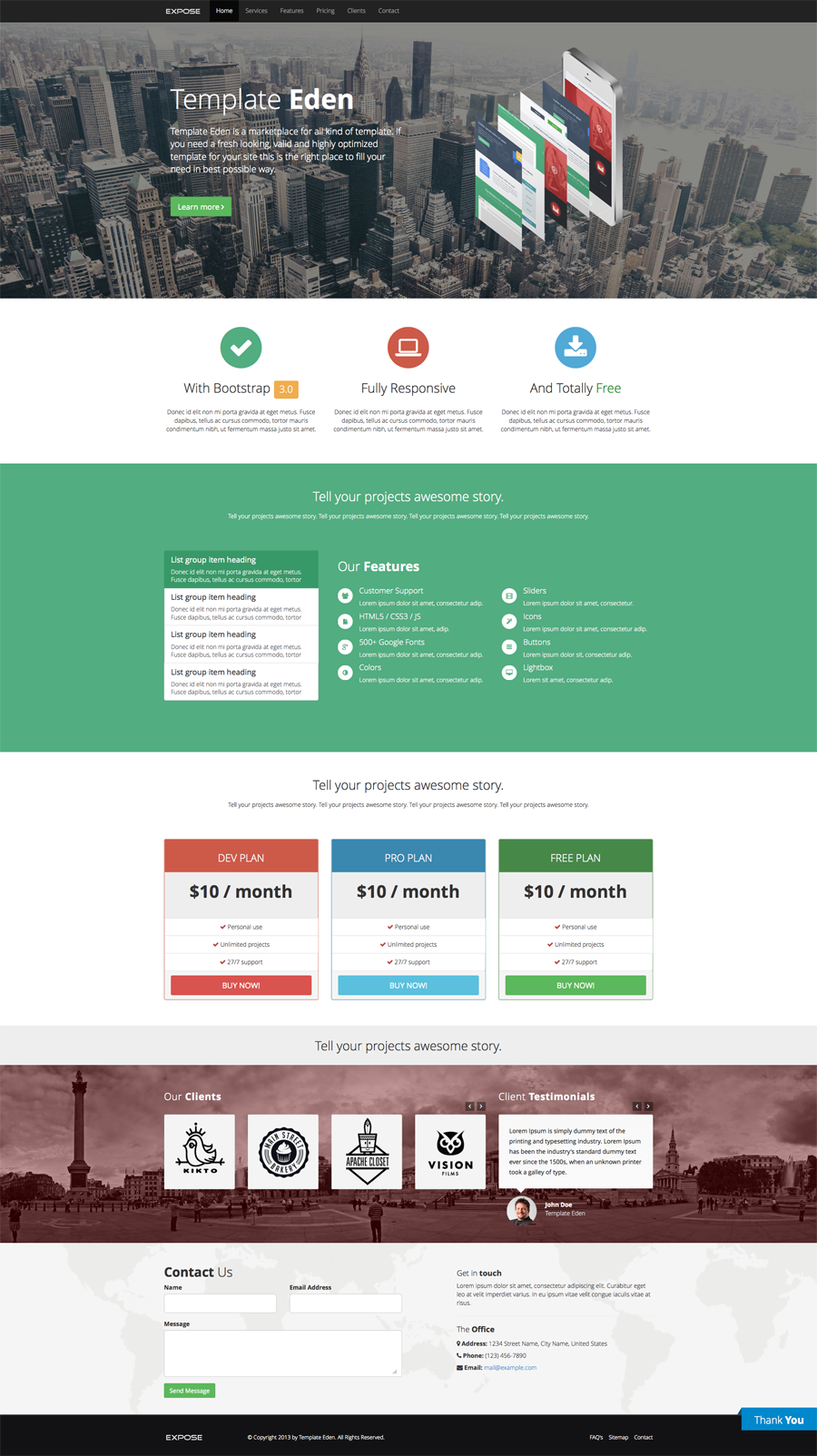expose one page html css template using bootstrap